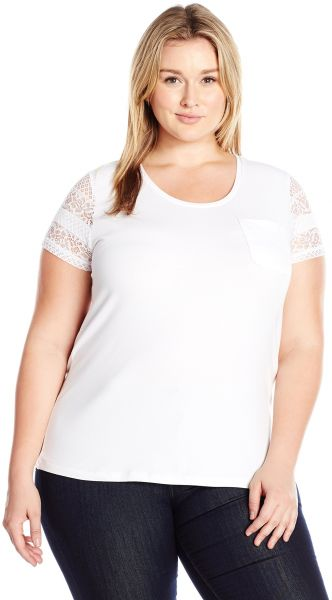 029ae3ff46c Caribbean Joe Women s Plus Size Short Solid Cotton Spandex Lace Sleeve Tee