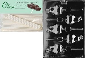 Cybrtrayd Iris Lolly Fruits and Vegetables Chocolate Candy Mold with 50 4.5-Inch Lollipop Sticks