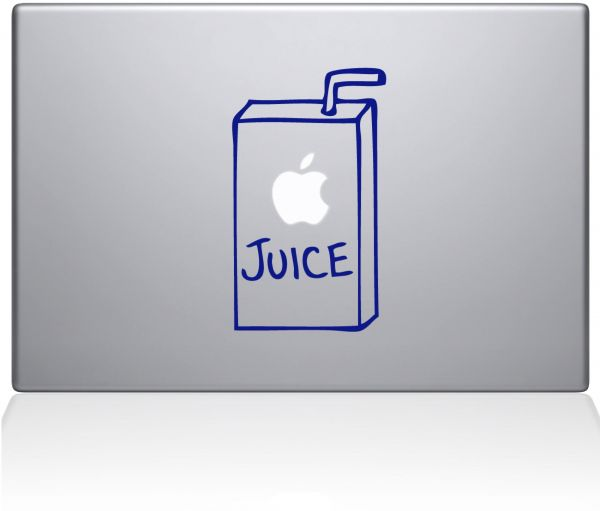 "The Decal Guru 1044-MAC-13A-LG Apple Juice MacBook Decal Vinyl Sticker - 15"" MacBook Pro ‫(2016 & Newer) - Dark Blue"