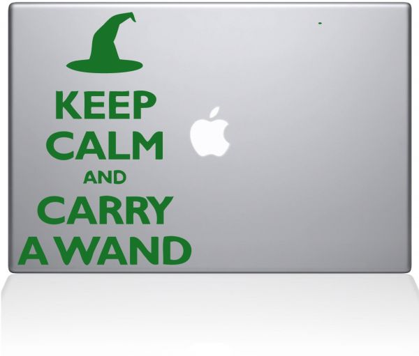 "The Decal Guru Keep Calm and Carry a Wand MacBook Decal Vinyl Sticker - 15"" Macbook Pro ‫(2015 & older) - Green ‫(1109-MAC-15P-LG)"