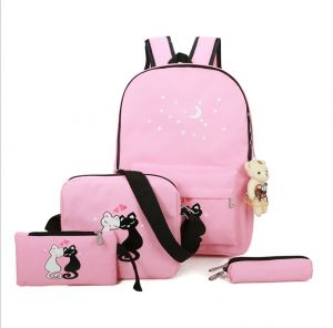 6da5be0d5c12 Portable Backpack Cartoon Animal Pattern Recreation Backpack Primary School  Bag 4-5-6 Junior High School Canvas Backpack Girl Travel Backpack leisure  ...