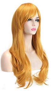 Fashion Sunny-business Long Curly Dance Party Multicolor of Anime Cosplay Wigs for women yellow