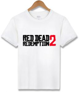 7cb5d8197f66 Spring summer Red Dead Redemption 2r game t-shirt pure cotton teen loose  short sleeve casual sport tops white S