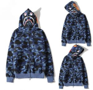 a72ed9963 Bape Shark Blue Classic Pullover Hoodie Unisex Jacket coat For Men And Women