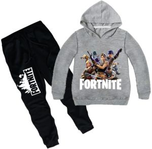 2 piece set 3D digital printing Fortnite printing fashion long sleeve round  collar hoodie pants children cotton clothing Suit c75a81fb0