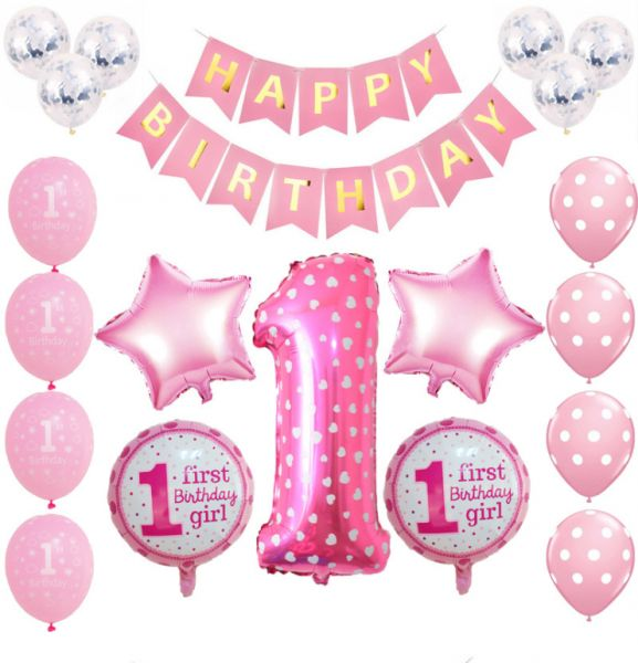 20 Pcs Set Red Foil Balloons Baby First Birthday
