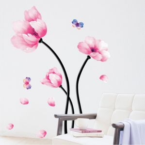 Wall Decal Pink Flower Wall Mural Peel And Stick Removable Vinyl
