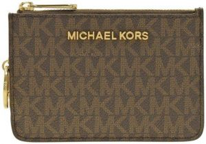 61f5d617f8db Michael Kors, Logo printed Jet Set travel Card & ID Case Wallet - Brown