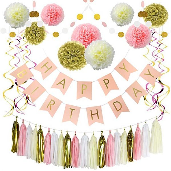 1st Birthday Decorations For Girl Kids Women Party Supplies Pink And Gold Girls Theme Kit Set Foil Confetti Marble Balloons Banner Poms