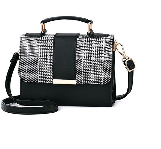 5bb4b7435973 Fashion lady plaid shoulder bag trend slanting small square bag Messenger  bag black