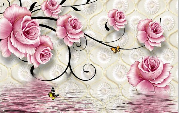 3d Wallpaper Pink Flowers Lake Turkish Industry With High Accuracy