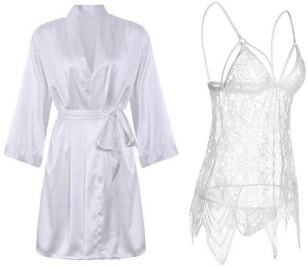 IngerT 4Pcs Nightwear Wedding Night Out Dress Set Silk Like V Neck Short  Robe with Sexy Hollow Out Dress and Panty for Women 825897c84