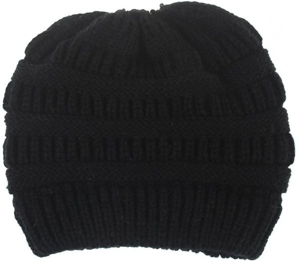 Black Beanie   Bobble Hat For Girls  7f2191ed0d7