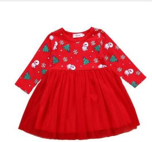 Christmas Party Cute Toddler Baby Girls Dress Long Sleeve Pattern Print Lace Patchwork Knee Length Tutu Outfit 2 6 Year Old