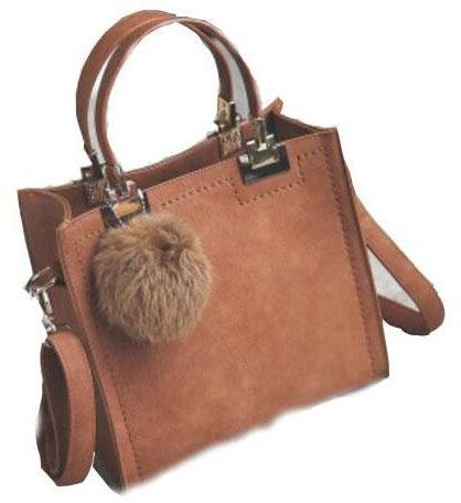 d0181d8a3a4d PU Leather Handbag Women Casual Tote Bag With Fur Ball -Brown