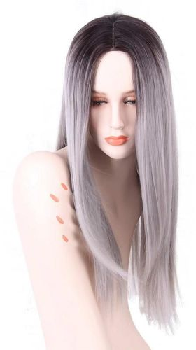 Black to Grey Gradient Wig Synthetic Wigs for Women Long Straight ... c4cd7caa3e