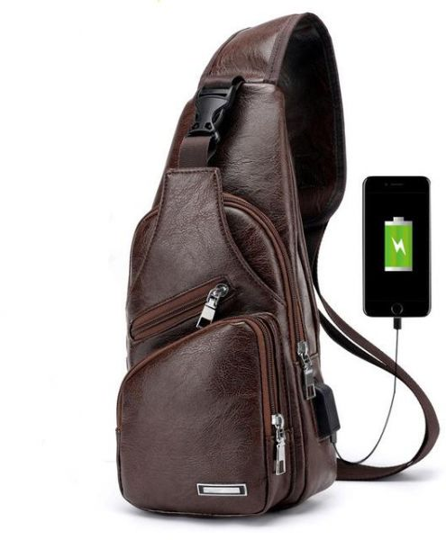 ea34844544b Men s Crossbody Bags USB Chest Bag Designer Messenger bag Leather Shoulder  Bags Diagonal Package   Souq - UAE