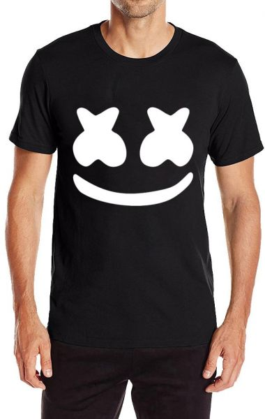 Printed Short Sleeve Men's Cotton Men's Marshmello Face Personality T Shirts | Souq - UAE