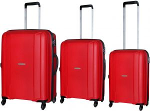10d3ea443337 HighFlyer Sleek Series 3 Pc Unbreakable Trolley Hard Luggage Bag Set - Red