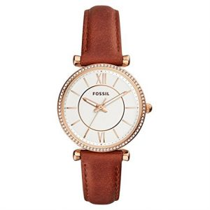 738b7d4f3 Fossil Carlie Women's Silver Dial Three-Hand Terracotta Leather Watch -  ES4428