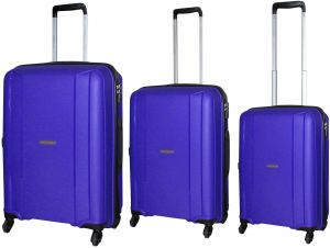 d956f25c5a4f HighFlyer Sleek Series 3 Pc Unbreakable Trolley Hard Luggage Bag Set -  Purple