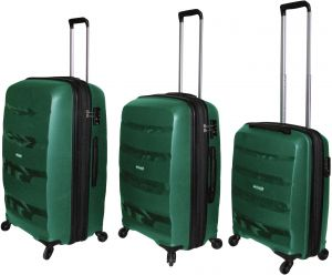 271a1aac3f82 HighFlyer Bella Series 3 Pc Unbreakable Trolley Hard Luggage Bag Set - Green