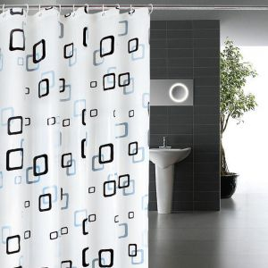 Shower Curtain Mildew Resistant Anti Bacterial EVA Clear Non Toxic Waterproof Square Print Bath Curtains With Hooks 180CM X 200CM