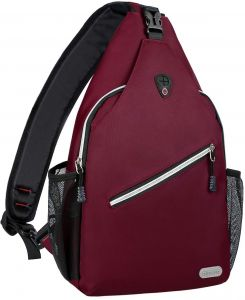 f67d02a7583 MOSISO Enlarged Sling Backpack, Multipurpose Crossbody Chest Shoulder Bag  Outdoor Travel Hiking Daypack, Wine Red