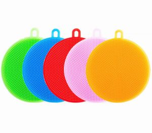 3e8c415a6 Silicone Cleaning Sponge Soft Dish Washing Brush Cleaner Sponges, Set of 5  Non Stick for Kitchen Wash Pot Pan Dish Bowl Wash Fruit Vegetable