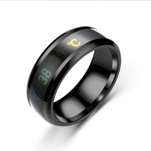 8a35ce8c0f Fashion Intelligent Thermometer temperature measuring ring Stainless steel  simple creative Couple wedding jewelry | Souq - UAE