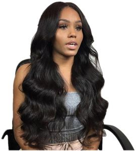 b8031144d6b Fashion black Lace Wig Mixed Color Glueless Long Natural Wavy Middle Part  Synthetic Lace Front Wigs For Women Half Hand Tied Heat Resistant