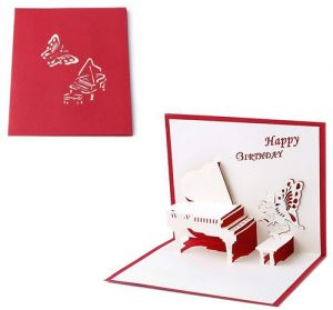 2pcs 3D Pop UP Holiday Greeting Cards Valentines Day Happy Birthday Gift Piano Angel