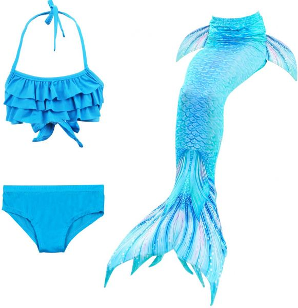 5dd042d17b0 3PCS The Little Mermaid Tail Mermaid Bikini swimsuit Set,Costume Princess Ariel  Children Mermaid Tail Cosplay Swimwear Kids For Girl Kids,Blue | KSA | Souq