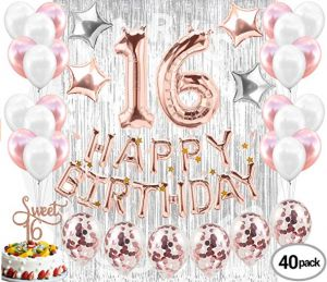 40pcs 16th Birthday Decorations Party Supplies SetSweet 16 Balloons