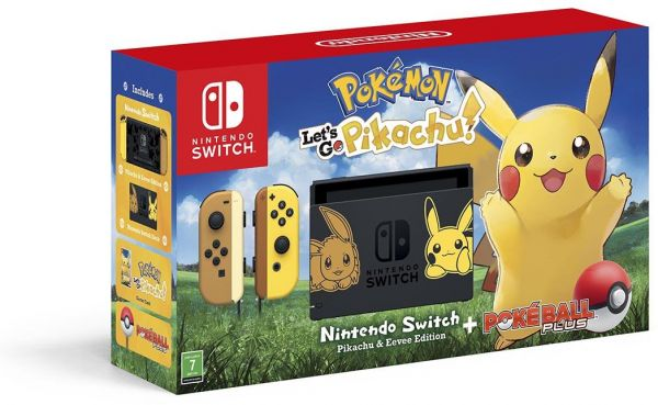 Nintendo Switch Let's Go Pikachu Limited Edition Console with Joycon, with Pokemon: Let's Go Pikachu + Pokeball Plus Controller
