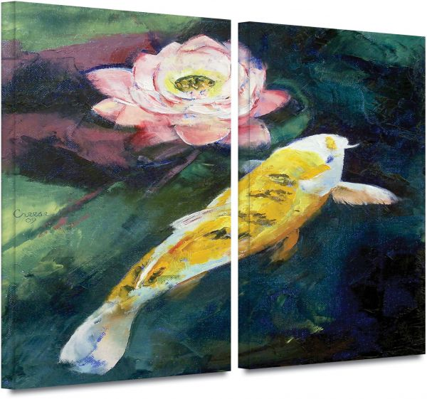 Artwall 2 Piece Michael Creese Koi And Lotus Flower Gallery