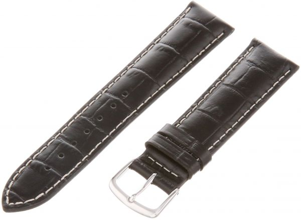34236648b9c Hadley-Roma Men s MSM834RA-200 20-mm Black Genuine Italian Calfskin Leather  Watch Strap