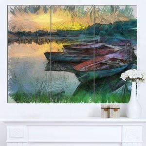 Designart Mt13681 3p Fishing Boats By River Watercolor Landscape Glossy Metal Wall Art Green 36x28