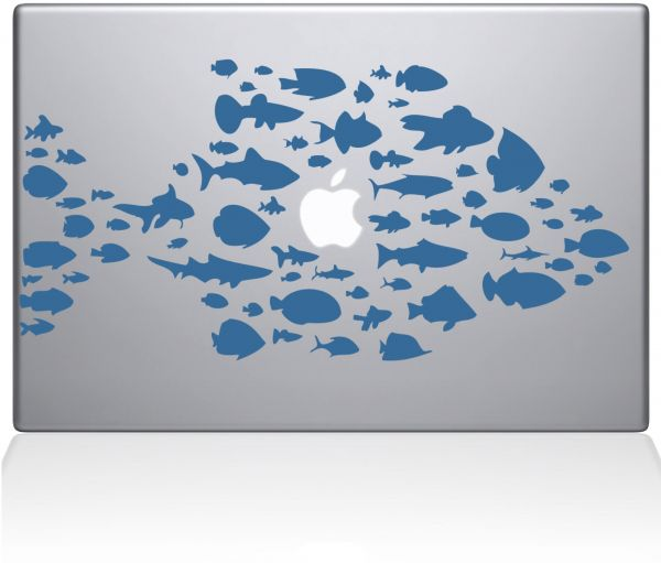 "The Decal Guru 0146-MAC-15X-LB Swim The Fishes Vinyl Sticker, 15"" MacBook Pro ‫(2016 & Newer), Blue"