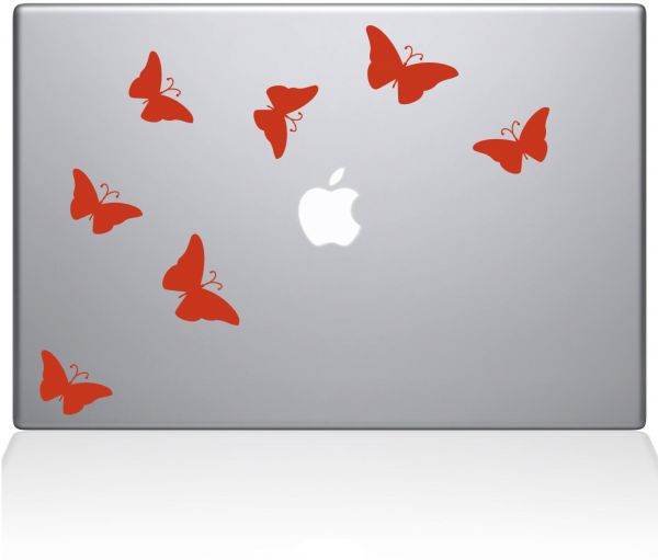 "The Decal Guru 0203-MAC-13X-LB Butterflies MacBook Decal Vinyl Sticker - 15"" MacBook Pro ‫(2016 & Newer) - Orange"