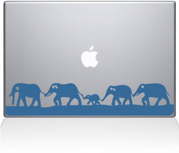 "The Decal Guru 0152-MAC-15P-LB Elephant March Vinyl Sticker, 15"" MacBook Pro ‫(2015 & Older), Blue"