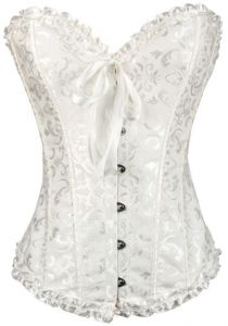 Women s Gothic Bustiers Corsets Satin Boned Lace Up Overbust Bridal Bodysuit  for Christmas white XL yards 5f3deed96