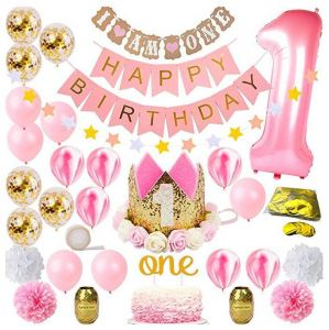 Bday Tiara Crown Hat One Cake Topper Foil Confetti Marble Balloons Banner Poms Bunting Party 1st Birthday Decorations For Girl Mega Bundle