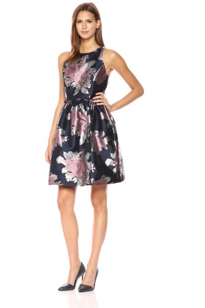 74d04e8857db Tahari by Arthur S. Levine Women s Sleeveless Floral Party Dress with  Rouched Waist Seam