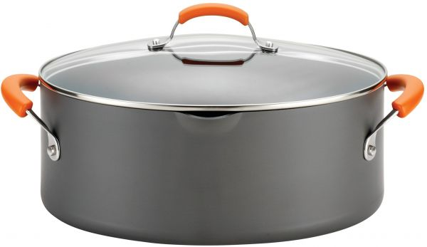Rachael Ray Hard Anodized II Nonstick Dishwasher Safe 8 Quart Covered Oval Pasta Pot Orange