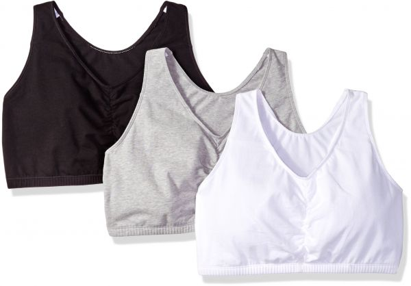 f7a25c4e6c Fruit of the Loom Women s Shirred Front Racerback Bra (Pack of 3 ...