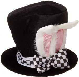 78eb56e4d825b Jacobson Hat Company Men s Velvet Bunny Ear Top Hat with Checkered Bow Tie