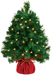 20 Inch Tabletop Mini Christmas tree Prelit with 100 Clear LED Lights(8 Light Modes), Best Home and Office Christmas Decorations