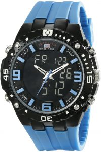1e7ef444f52 U.S. Polo Assn. Sport Men s US9175 Black Ana-Digi Watch with Blue Silicone  Band