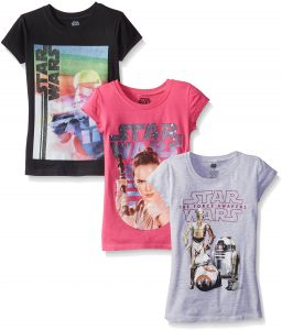 5cf761322fab2 Star Wars Big Girls' The Force Awakens Episode Graphic T-Shirt, Assorted, 7  (Pack of 3)